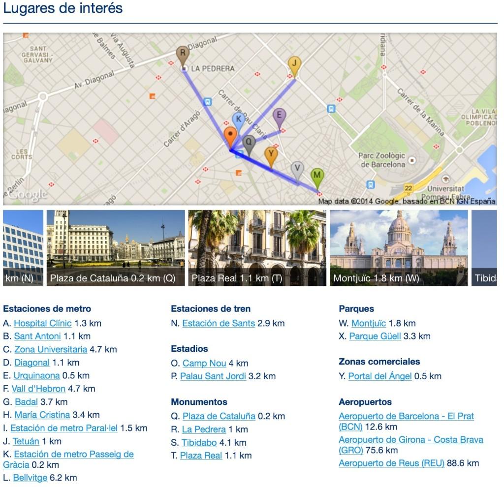 ubicación de los hoteles en Booking